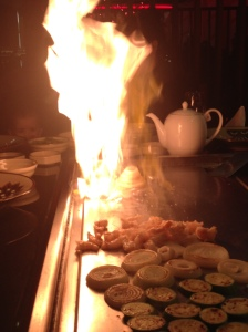 Flames from hot plate