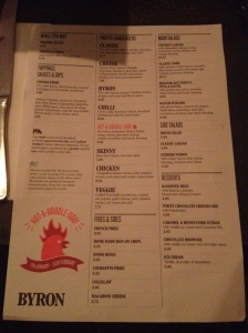 Byron Burger Menu