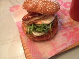 Halloumi and Hummus Burger