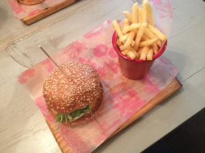 Halloumi and Hummus Burger & Fries