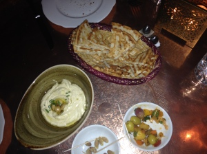 Hummus, Olives and Pitta Bread